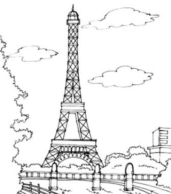 各种不同的埃菲尔铁塔简笔画,让宝宝学习如何才能画好一幅建筑图画