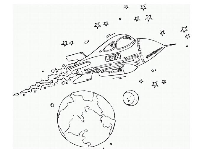 宇宙飞船简笔画,高清宇宙飞船简笔画大全,让宝宝憧憬!
